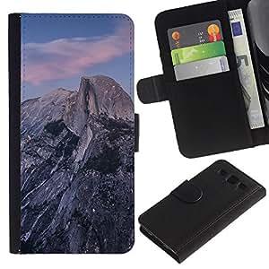 LECELL--Cuero de la tarjeta la carpeta del tirón Smartphone Slots Protección Holder For Samsung Galaxy S3 III I9300 -- Hermosa Montañas Rocosas --