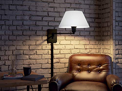 Kenroy Home Swing Arm Wall Lamp – Wall Mounted Plug In, Cord Covers Included, Oil Rubbed Bronze Finish with 13 inch Cream Fabric Shade, 25 inch reach by Kenroy Home (Image #1)