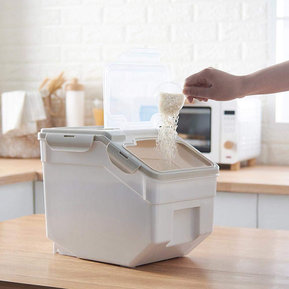 Alimenti secchi Lesgos Contenitore di Riso 10 kg // 22 lbs Farina Casalinghi sigillati Cereali Grain Organizer Box Contenitore per Il Riso Contenitore per la Cucina Conservazione di Riso