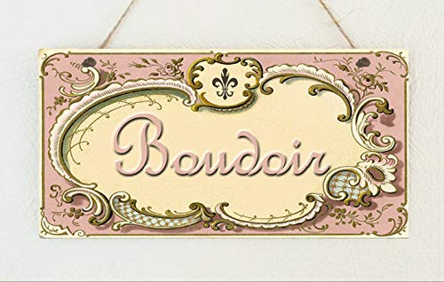 PotteLove Beautiful Shabby Plaque Vintage Room Sign French Boudoir Toilette Le Bain Chic Rustic Wood Wall Art Home Family Decoration Design Plank Plaque Sign 4