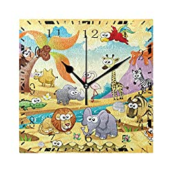 Wall Clock Cute Zoo Animal Cartoon Square Decorative Clock for Living Room Bedroom Kitchen Home Decor Battery Operated Art