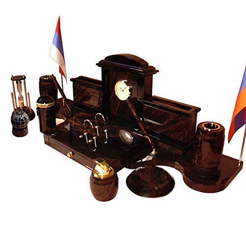 Royal office desk set made from obsidian with clock, flags, pen holders, ashtray,lighter,cigarette tray and sand clock, made to order