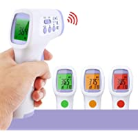 【Limited time Discount】YKS IR Infrared Digital Non-Contact Thermometer Gun with Three Color LCD Screen for Adult and Baby Forehead, Ear and Body Temperature with Fever Alarm and Memory Function