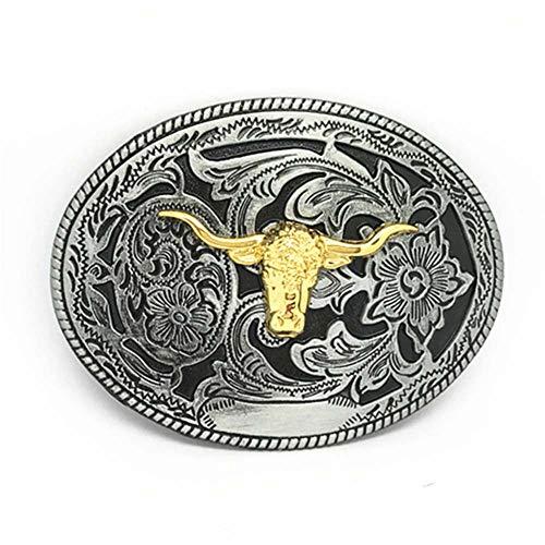 Western cowboy belt buckle for belt accessories Custom buckle (Oval Gold Bull) - Oval Gold Buckle Belt