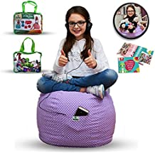 LARGE Stuffed Animal Storage Bean Bag Cover for Kids Room - Stuff'n sit Toys Organizer - Storage Chair - High Quality Cotton- Store Extra Blankets & Pillow too (Purple) +FREE E-Book
