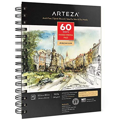 Arteza 5.5x8.5 inches Mixed Media Sketch Book, 60