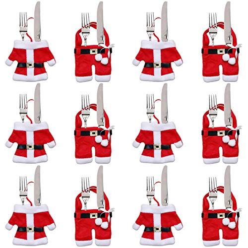 Gudotra 12pcs Cubiertos Tenedores Bolsa Cocina Traje Cubiertos Cuchillos Bolsas para Decoración Navidad (Traje de Santa Claus)