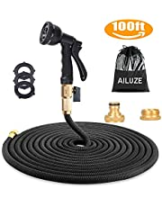"""100ft Garden Hose - All New Expandable Garden Water Hose Pipe with Double Latex Core,3/4"""" Solid Brass Fittings,Extra Strength Fabric - Flexible Expanding Hose with 8 Function Spray Gun"""