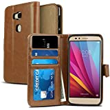 Honor 5X Case, NuNu Modish Huawei Honor 5X Wallet Case [Premium] BROWN Stylish Flip Folio Wallet Case with Stand for Huawei Honor 5X