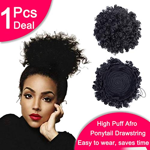 Synthetic Curly Explosive Head Hair Ponytail African American Short Afro Kinky Curly Wrap Synthetic Drawstring Puff Ponytail Hair Extensions Wig with Clips 1Pack/Lot ()