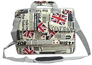 14 inch Union Jack Flag Laptop Carry Case / Shoulder Messenger Bag / Briefcase for Macbook, Acer, Dell, HP, Sony Notebook
