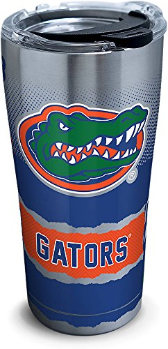 Tervis 1268411 Florida Gators Knockout Stainless Steel Tumbler with Clear and Black Hammer Lid 20oz, Silver