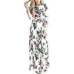 HOOYON Women's Autumn Casual Floral Printed Long Maxi Dress White L