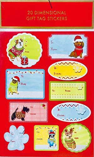 Lady Jayne Santa Paws 2 Sheets of Christmas 3-D Dimensional Gift Tag Stickers (11542), 10 per Sheet = ()