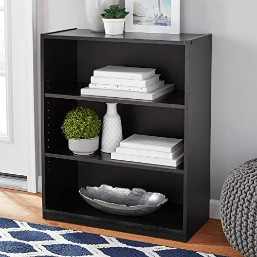 Mainstay Easy to Assemble, Contemporary Style, 3-Shelf Wood Bookcase (1 Pack, True Black Oak) ()