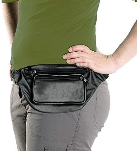 Black Leather Fanny Pack, Waist Bag, Genuine Leather by The Bikers Zone: Amazon.es: Deportes y aire libre