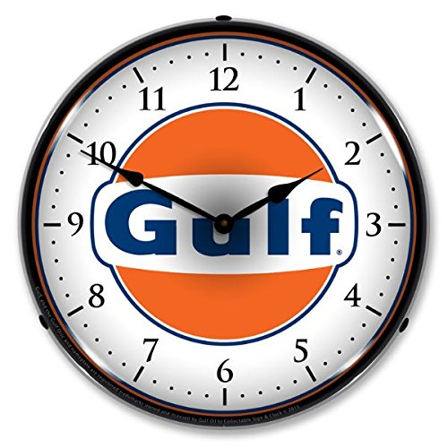 """Collectable Sign and Clock 710057 14"""" Gulf Lighted Clock"""