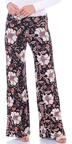 Popana Women's Casual Wide Leg Boho Flare Floral Print Palazzo Pants Made in USA Medium ST99 Paisley (Pant Print Paisley)