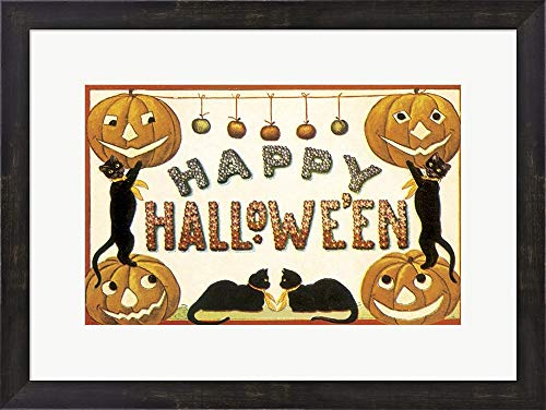 (Cute Cat Halloween Vintage Apple Collection Framed Art Print Wall Picture, Espresso Brown Frame, 23 x 17)