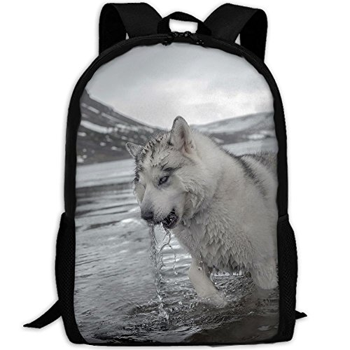Dog Standing In Water Wet Backpack Briefcase Laptop Travel Hiking School Bags Stylish Daypacks Shoulder Bag
