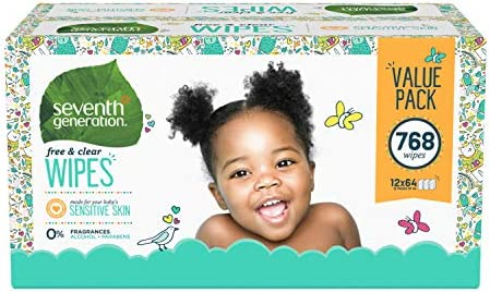 Seventh Generation Baby Wipes, Free & Clear Unscented And Sensitive, Gentle As Water, With Flip Top Dispenser, 768 Count (Packaging May Vary)