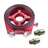 Dewhel Racing Sport JDM Aluminum Oil/Gauge Filter Sandwich Adapter Plate Kit (Red)