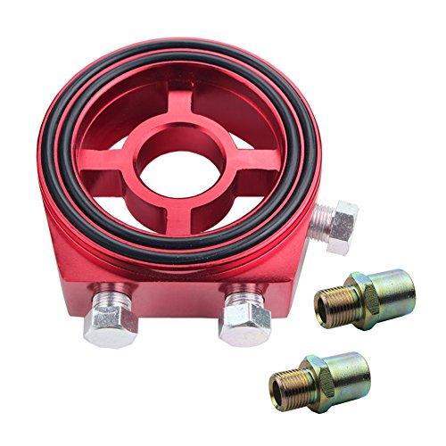 [Dewhel Racing Sport JDM Aluminum Oil/Gauge Filter Sandwich Adapter Plate Kit (Red)] (Oil Temp Sensor Adapter)