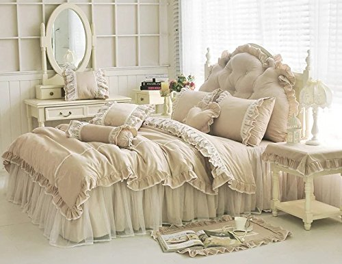 Price comparison product image LELVA Shabby Ruffle Duvet Cover Set King Cotton Chic Wrinkle Girls Bedding Khaki 4 Piece Romantic Lace Design Bed Skirt