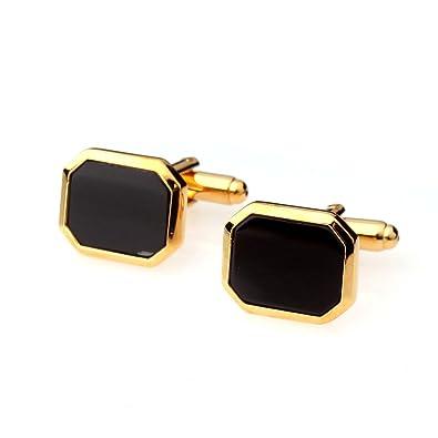 1par Gemelos de Hombre Joyería para Camisa Traje Boda Color Oro Negro: Amazon.es: Joyería