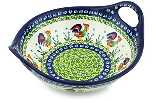 Polish Pottery Bowl with Handles 10-inch (Country Rooster Theme) Signature UNIKAT