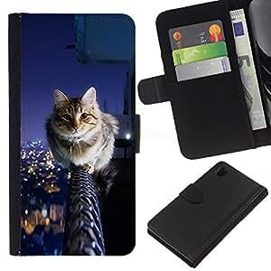 EJOY---La carpeta del tirón la caja de cuero de alta calidad de la PU Caso protector / Sony Xperia Z1 L39 / --Cool Cat City