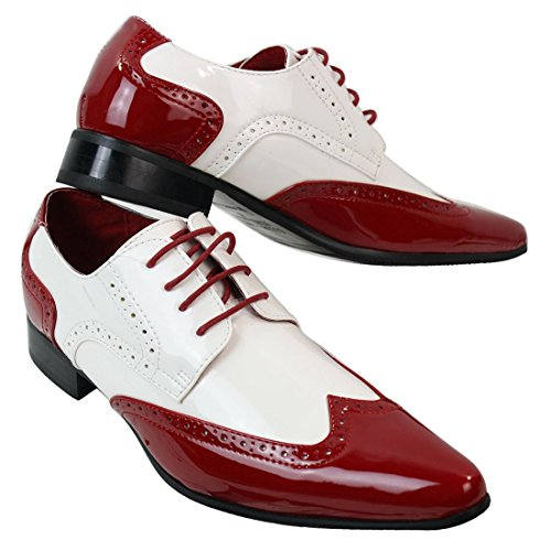 White Red Vintage Brogue Rosso Rosellini Mens Smart Shoes Casual Leather Shiny Laced Patent qwfZfx4