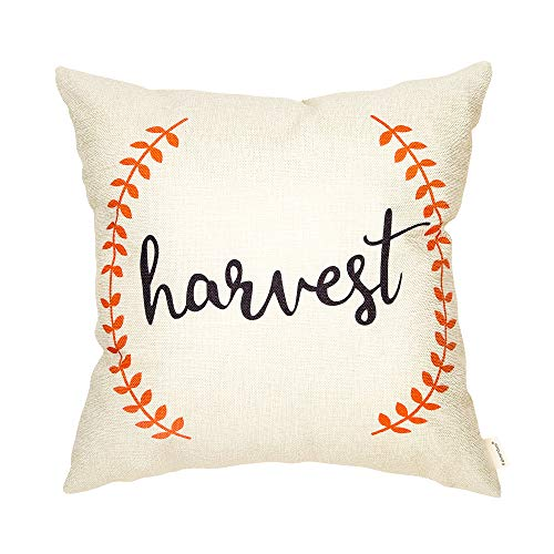 Fahrendom Thanksgiving Day Rustic Harvest Pumpkin Orange Olive Branch Farmhouse Style Fall Autumn Sign Cotton Linen Home Decorative Throw Pillow Case Cushion Cover with Words for Sofa Couch 18 x 18 In