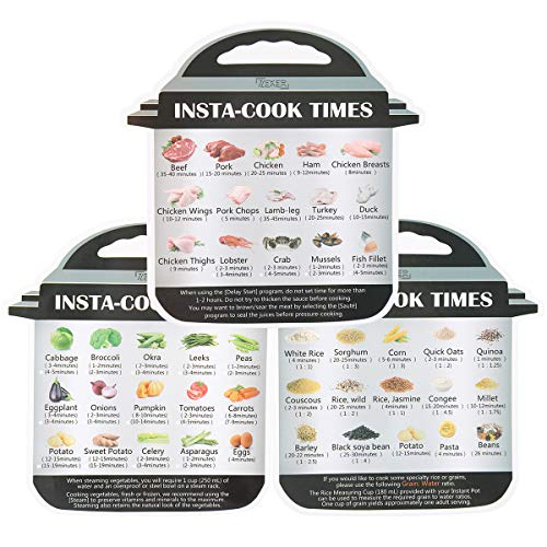 3 Pack Magnetic Cheat Sheet Compatible with Instant Pot Food Images Magnet Cooking Times Accessories for 45 Common Prep Functions (Small) ()