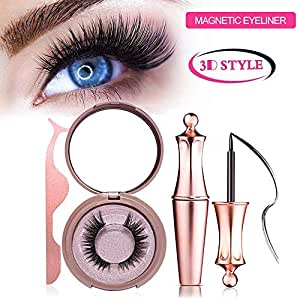 Magnetic Eyeliner Kit, Magnetic Eyeliner With Magnetic Eyelashes - Magnetic Lashliner For Use with Magnetic False Lashes with Waterproof Black Smooth Liquid Eye Liner Eyeliner