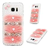 Galaxy S7 Edge Case 3D Art Bling Diamond Crystal Rhinestones Clear Case Shiny Glitter Gems Bumper Hard PC Transparent Protective Phone Back Cover for Samsung Galaxy S7 Edge - Pink Fluffy Pearls