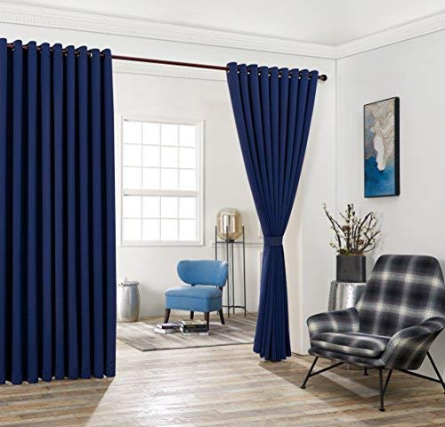 (Nicole - 2 Wall-to-Wall Blackout Grommet Curtains Panels with Tiebacks - Total Size 216 Inch Wide (108 Each Panel) - 108 Inch Long - Solid Thermal Insulated (108