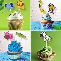 Coolba 【36 Piezas】 Animales Cupcake Toppers, Feliz Cumpleaños Pastel Topper Tema Animales Decoraciones Torta de Niños Fiesta Fuentes del Partido