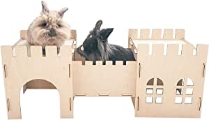 Tokihut Wooden Rabbit Toy Castle with Tunnel Hideout and Playhouse