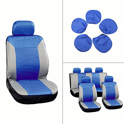 SCITOO Universal Blue/Gray Car Seat Cover w/Headrest 9Pcs Breathable Embossed Cloth Retractable
