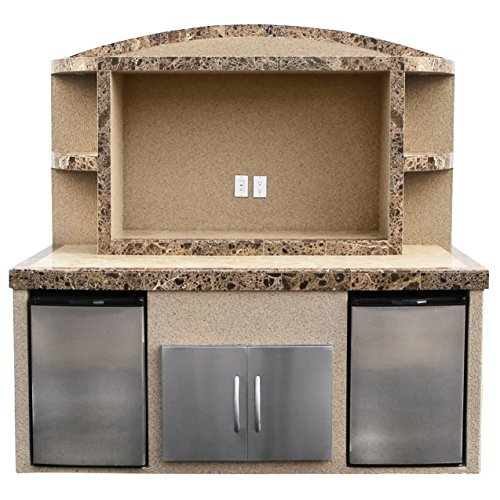 Cal Flame ODC-1 Paradise Stucco and Tile Outdoor Center Serving Bar with Refrigerators, Gray