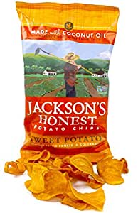 Sweet Potato Chips, (Jackson's Honest), Cooked in Coconut Oil, Paleo Friendly, 5 Oz, (6 Pack)