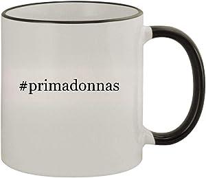 #primadonnas - 11oz Ceramic Colored Rim & Handle Coffee Mug, Black
