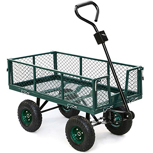 go2buy 800 lbs Capacity Heavy Duty Steel Wagon Garden Utility Cart with Removable Side-Wall on Rubber Wheels Tires, Green (Wagon Wheel Wall)