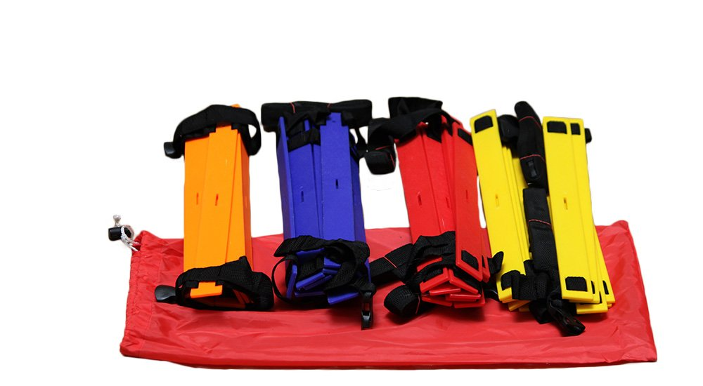 Set scale per esercizi di coordinazione - 4x 4 m, 4 colori 1x rosso, blu, giallo e arancione, pioli regolabili