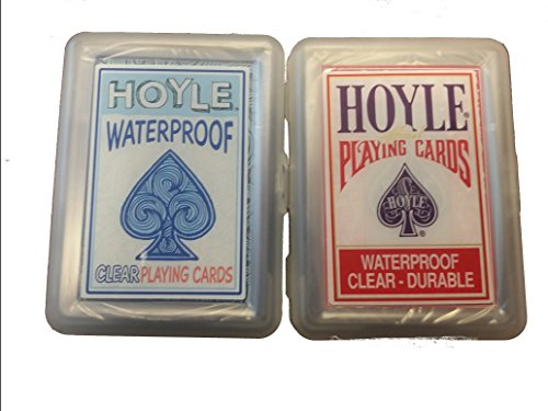Lot 2 Red and Blue Hoyle Clear and Waterproof Playing Cards (Bicycle Clear Playing Cards)