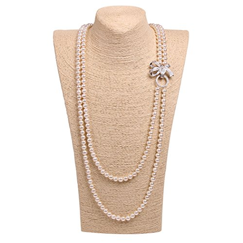 [ART KIM Princess Rhinestone Bow Pearl Strands Necklaces (2 Layers White)] (Under The Sea Dress Up Ideas)