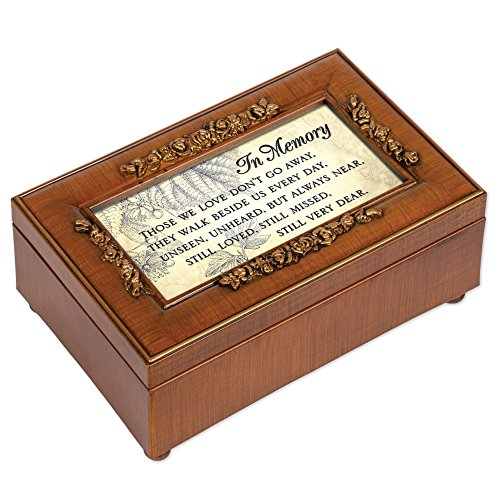 Cottage Garden in Memory Bereavement Rich Walnut Finish Petite Jewelry Music Box - Plays Wind Beneath My Wings