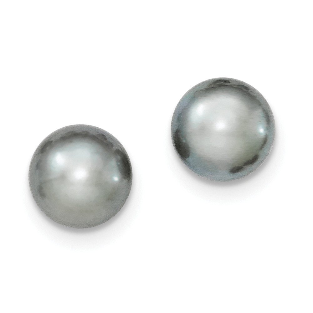 925 Sterling Silver 10-11mm Grey FW Cultured Button Pearl Stud Earrings