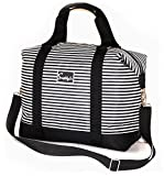 Travel Weekender Overnight Carry-on Shoulder Duffel Tote Bag (8' x 12' x 16 (Large), Black & White Stripes)